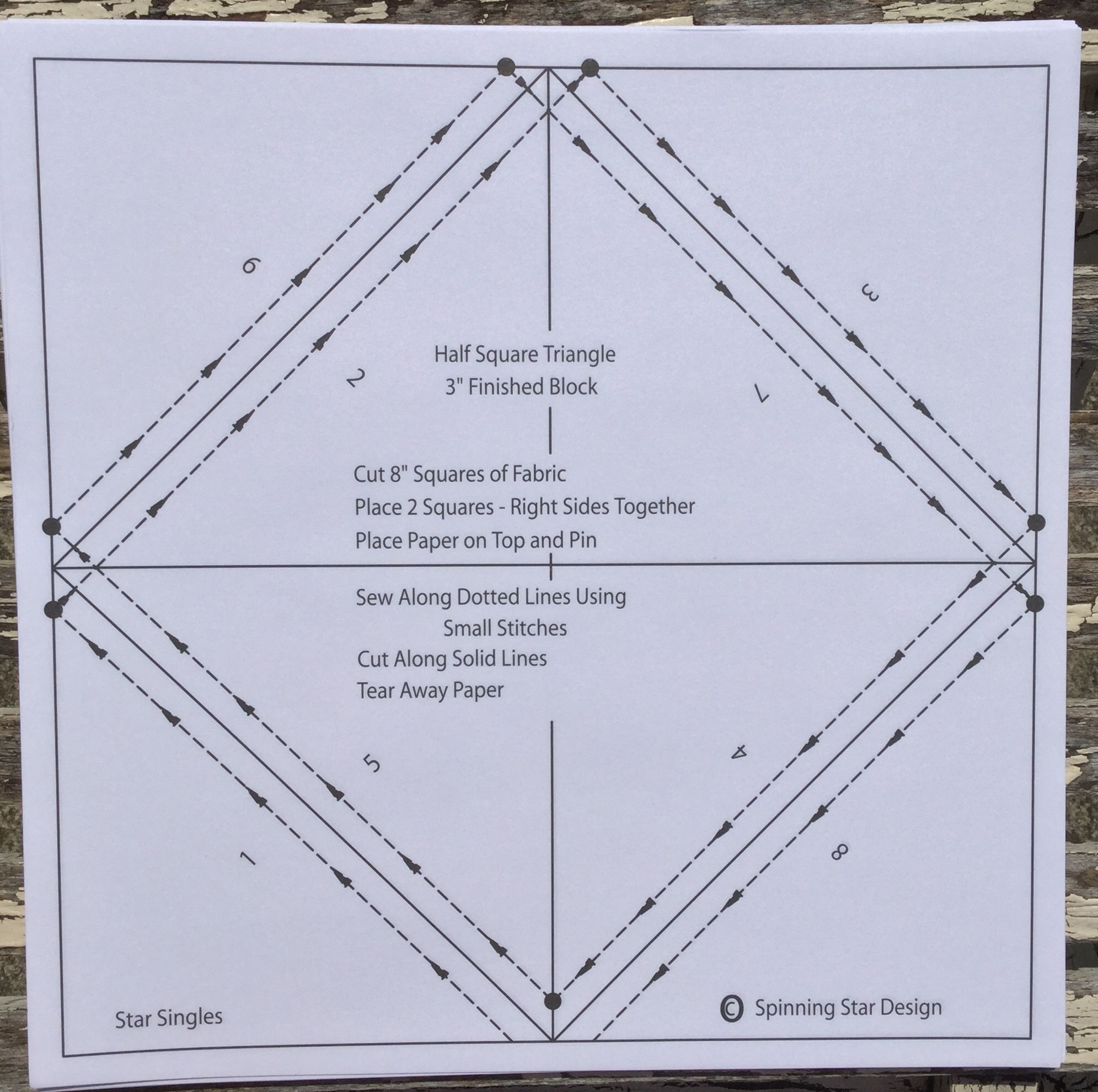"3/"" Star Singles Half Square Triangles Spinning Star Design"