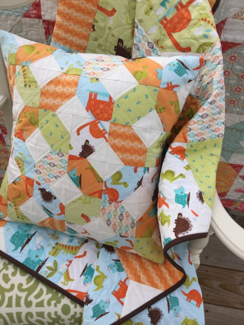 "Dinosaur fabric 18"" pillow tutorial"